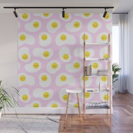 Cute Fried Eggs Pattern Wall Mural