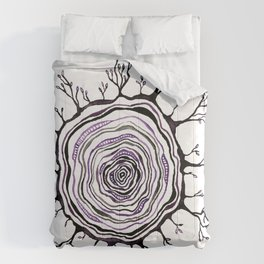 Watercolor Tree Ring, Purple Comforters