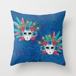 Carnival face mask Throw Pillow