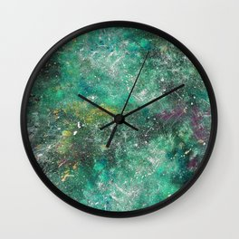 A galactic ocean -Green- Cosmic Painting Art Wall Clock