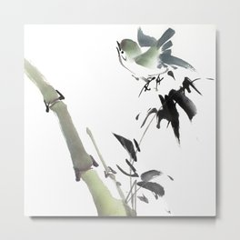 Chubby birdie in bamboo forest Metal Print