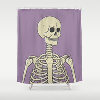 skeleton Shower Curtains featuring Skeleton by Chris Korn