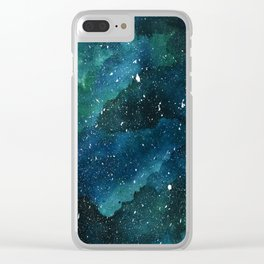 Emerald Galaxy Clear iPhone Case