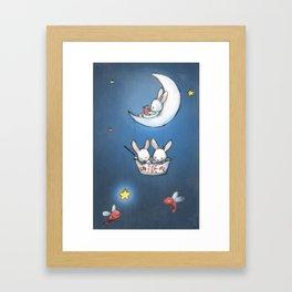 Les lapins dans la lune Framed Art Print