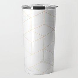 Gold Geometric White Mable Cubes Travel Mug