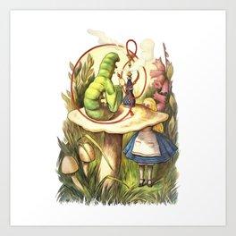 Alice & The Hookah Smoking Caterpillar - Alice In Wonderland Art Print