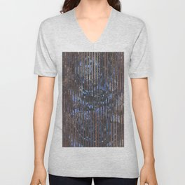 Abstract blue and brown Unisex V-Neck