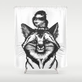 Little Fox & Bluetit (Kleiner Fuchs und Blaumeise) Friends - You & Me Shower Curtain