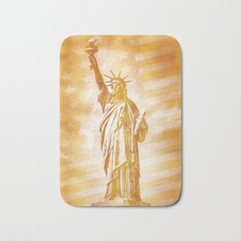 NEW YORK CITY Statue of Liberty with American Banner | abstract | golden painting Bath Mat