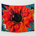 Orange Sunflower & Teal Contemporary Abstract by sharlesart
