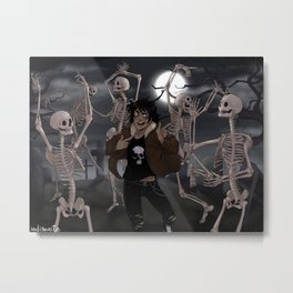 Spooky Scary Skeletons Metal Print