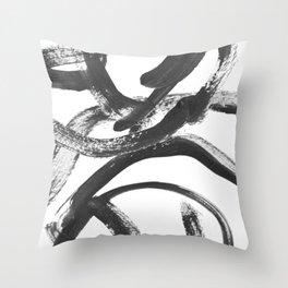 Interlock black and white paint swirls Throw Pillow