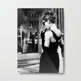 Audrey Hepburn in Black Gown, Jewelry, Vintage Black and White Art Metal Print