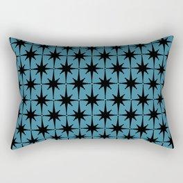 Atomic Age Retro Midcentury 1950s Starburst Pattern in Black and 50s Blue Rectangular Pillow