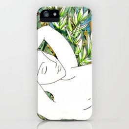 Nude with Green Flowers iPhone Case