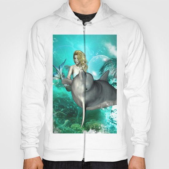 Beautiful mermaid with cute dolphin  Hoody