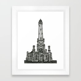 Triptych 2 - Water Tower - Original Drawing Framed Art Print