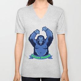 Gorilla Monkey Vegan Power Plants Vegetarian Gift Unisex V-Neck