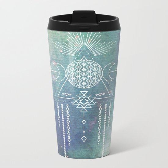 Mandala Flower of Life in Turquoise Stars Metal Travel Mug