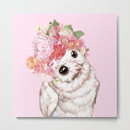 Snowy Owl with Flowers Crown Metal Print