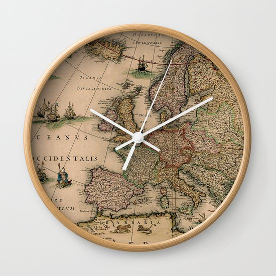 Antique map design wall clock by mapmaker society6 - Antique clock designs for your home ...