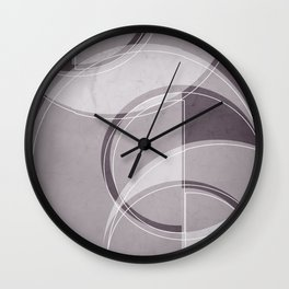 Where the Circles and Semi-Circles Meet in Aubergine Tones Wall Clock