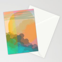 Shapes and Layers no.10 - Sun, Waves, Clouds, Sky abstract Stationery Cards