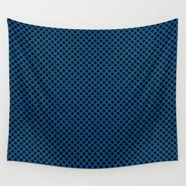 Snorkel Blue and Black Polka Dots Wall Tapestry