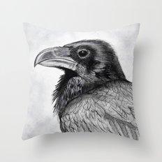Corvus Corax (The Common Raven) Throw Pillow