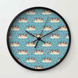 Banana Split Boston Pups with Cherries and Ice Cream Scoops Wall Clock