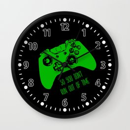 Video Game Black & Green Wall Clock