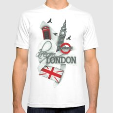 London MEDIUM Mens Fitted Tee White
