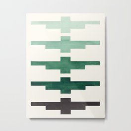 Mid Century Minimalist Ancient Aztec Inca Geometric Pattern Watercolor Deep Green Colorful Gouache Metal Print