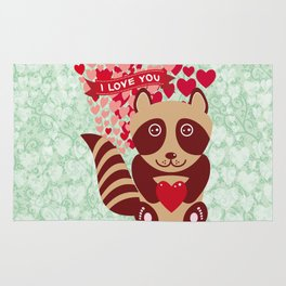 funny raccoon with red heart. I love you Rug
