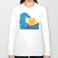 hokusai Long Sleeve T-shirts featuring Hokusai Rainbow & Hibiscus_Y  by FACTORIE