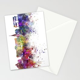 Montreux skyline watercolor background Stationery Cards