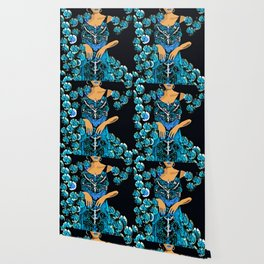 Woman Blue Carnations for the Jazz Singer Wallpaper
