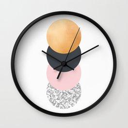 Geometric Circles - Gold Slate and Pink Blush Wall Clock