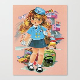 Retro Stewardess Flight Attendant Canvas Print