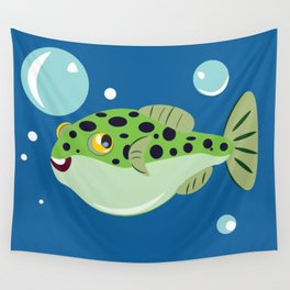 Goofy Green Spotted Puffer Wall Tapestry