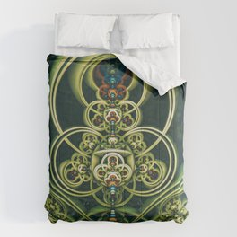 Time Shell IV. Green Abstract Geometry Comforters