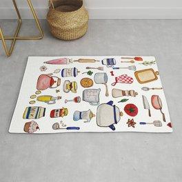 Watercolor Kitchen Utensils Rug