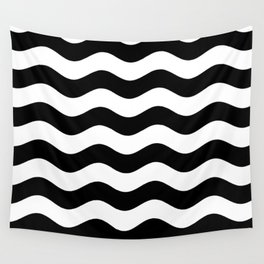 Wavy Stripes (Black/White) Wall Tapestry