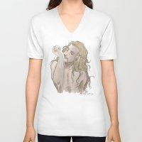 fili V-neck T-shirts featuring Milky Fili by AlyTheKitten