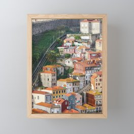 View of traditional Porto houses, with Guindais Funicular and Fernandina Wall on left. Framed Mini Art Print