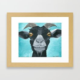 goat art.  'Willie from acrylic on canvas goat painting Framed Art Print