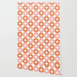 Mid Century Modern Motif Pattern in Burnt Orange and Blush Wallpaper