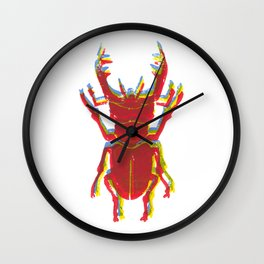Stag Beetle Tricolore lino cut Wall Clock