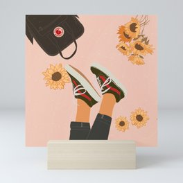Dreamer and Sunflowers Mini Art Print