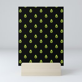 Avocado Hearts (black background) Mini Art Print